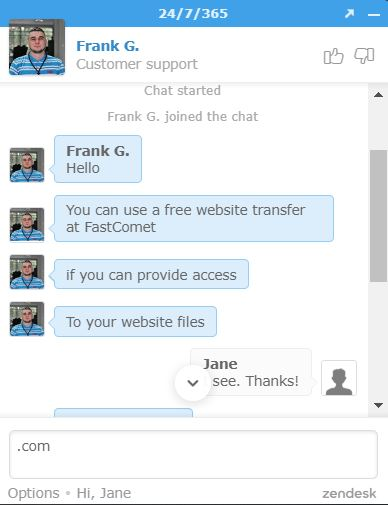 FastComet Live Chat support