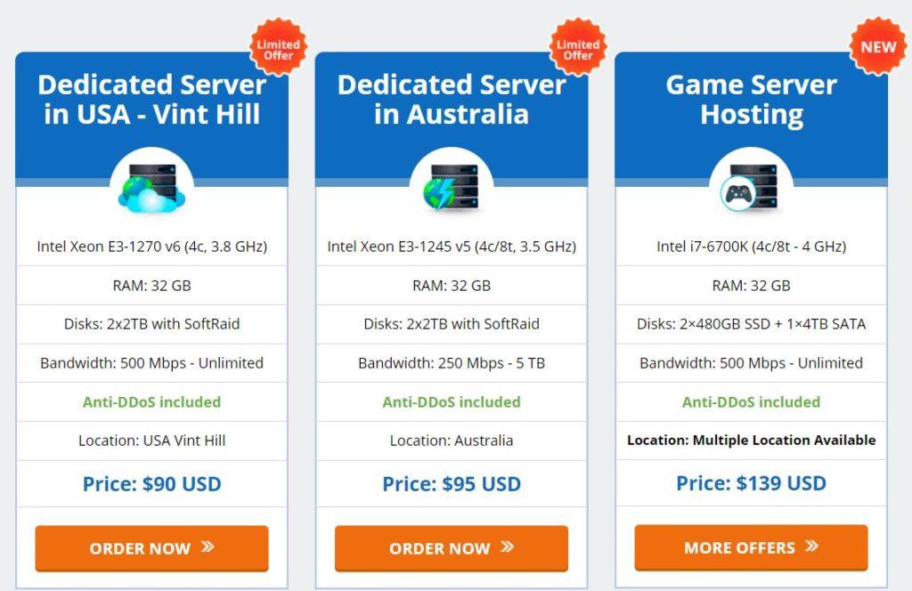 AccuWebHosting Dedicated Server pricing