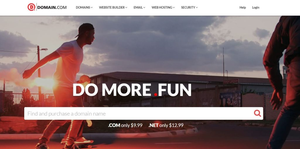 Domain.com homepage