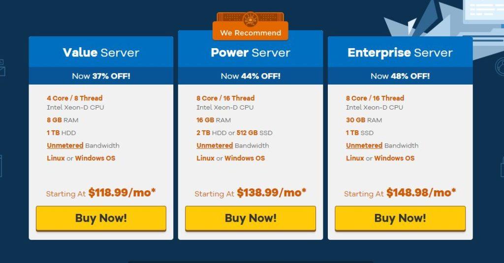 Prezzi dei server dedicati di HostGator