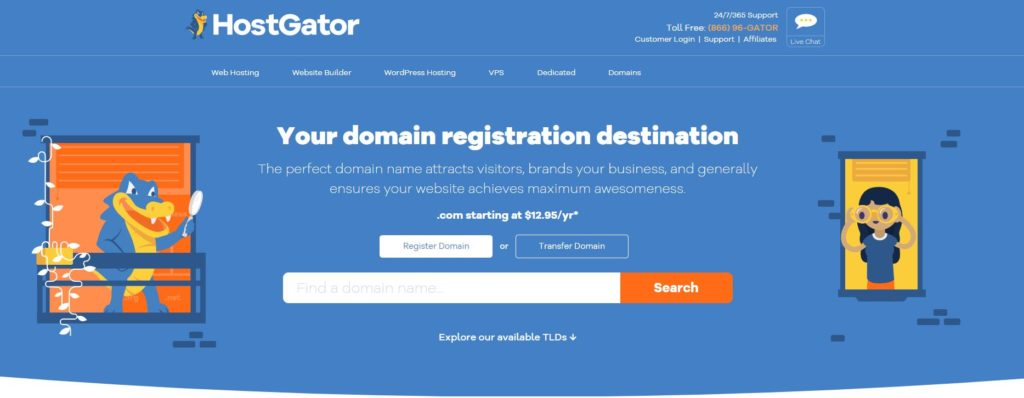 HostGator domain-search