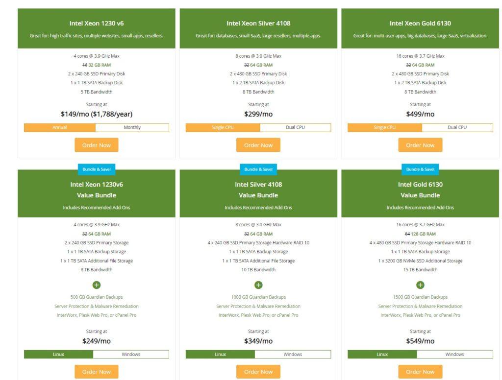 LiquidWeb Dedicated Server pricing