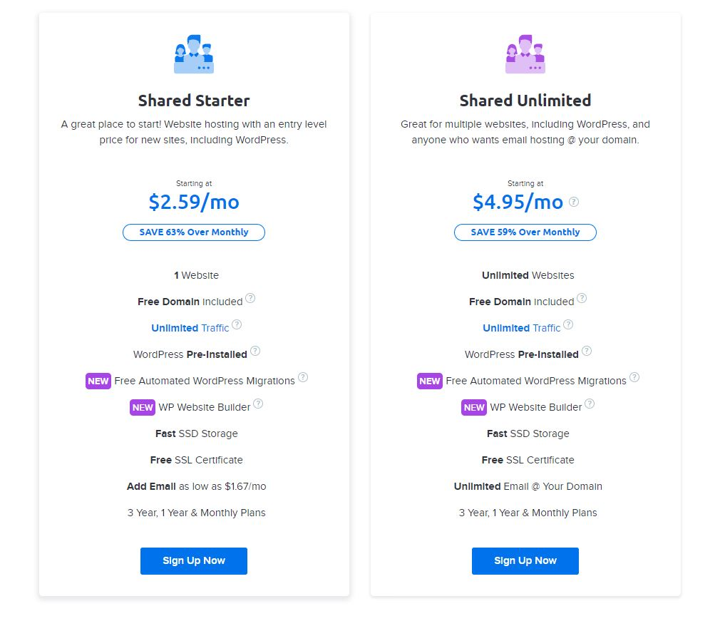 DreamHost Shared Hosting Pricing and Plans