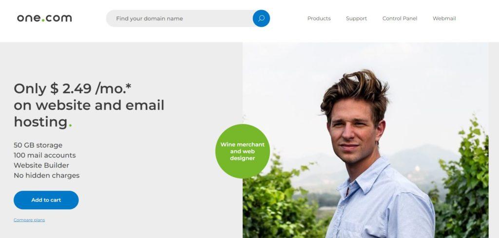 one.com homepage