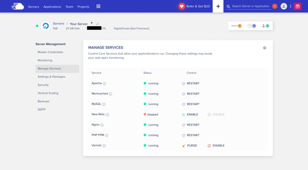 Cloudways backend admin panel