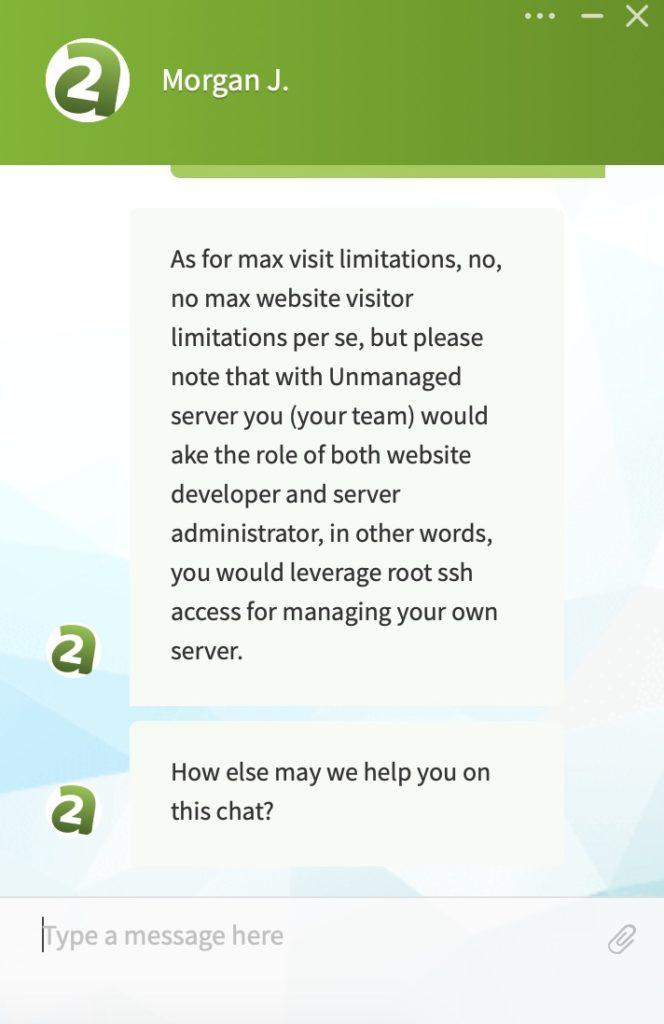 A2 Hosting Customer Support Screenshot