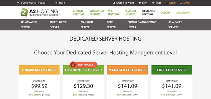 A2Hosting Dedicated Hosting Homepage