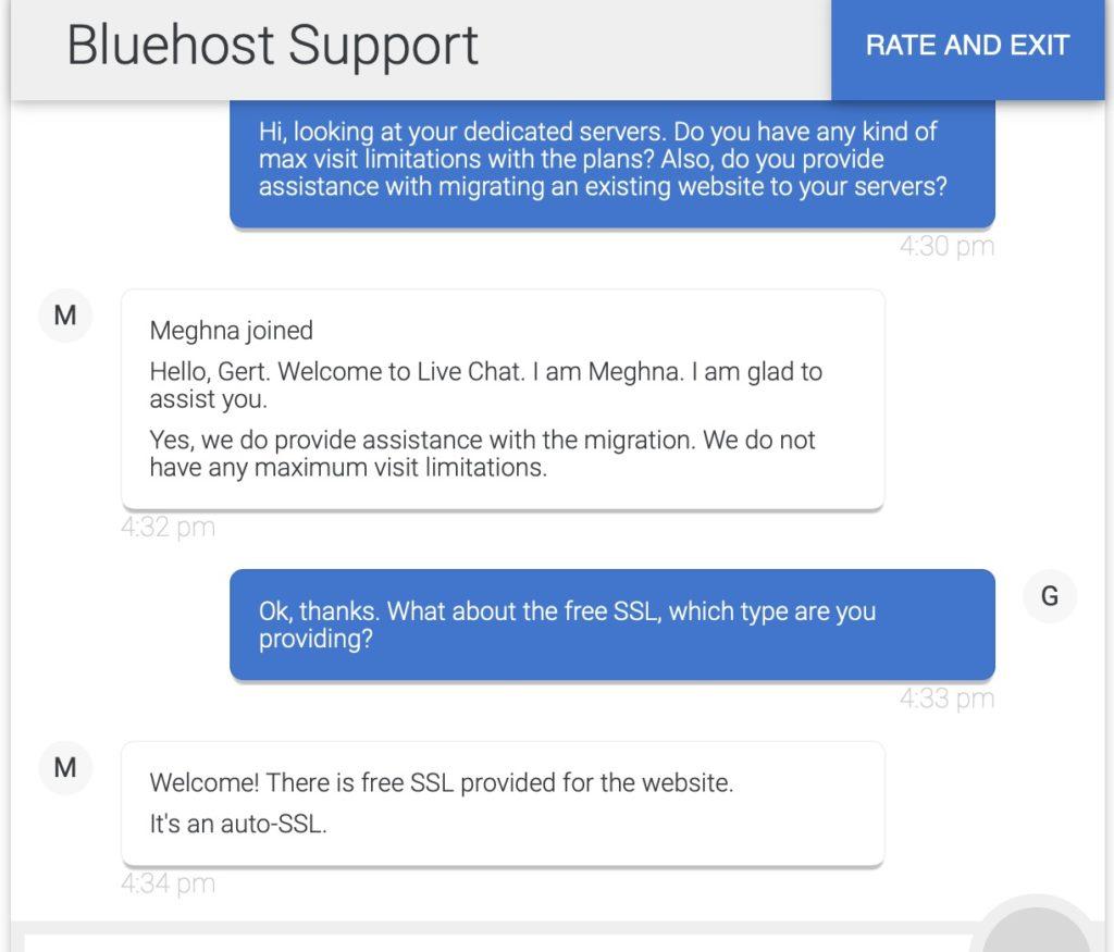 Bluehost Customer Support Screenshot