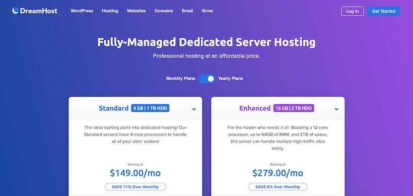 DreamHost Dedicated Hosting Homepage