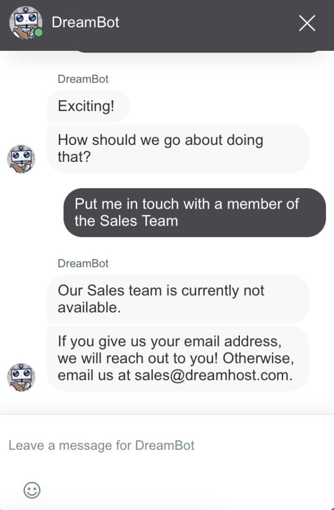 Dreamhost Customer Support Screenshot
