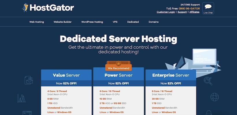 HostGator Dedicated Hosting Homepage