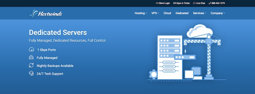 HostWinds Dedicated Hosting Homepage
