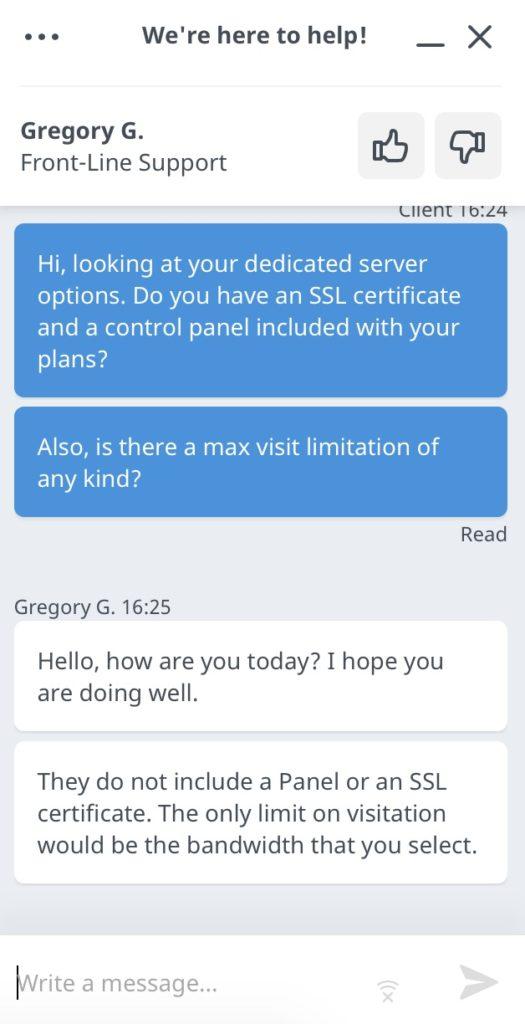 HostWinds Customer Support Screenshot