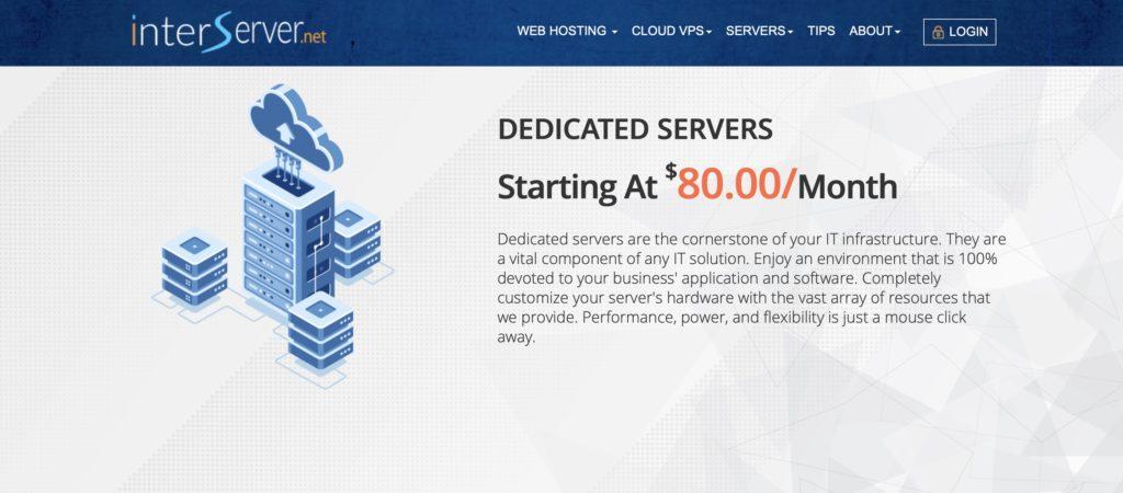 InterServer Dedicated Hosting Homepage