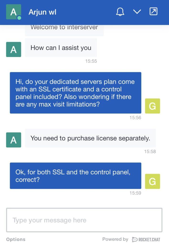 InterServer Customer Support Screenshot