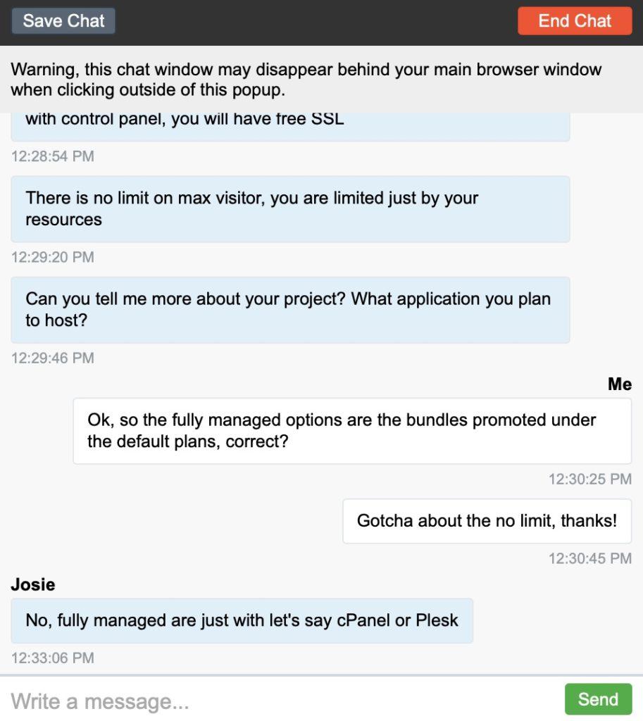 Liquid Web Customer Support Screenshot