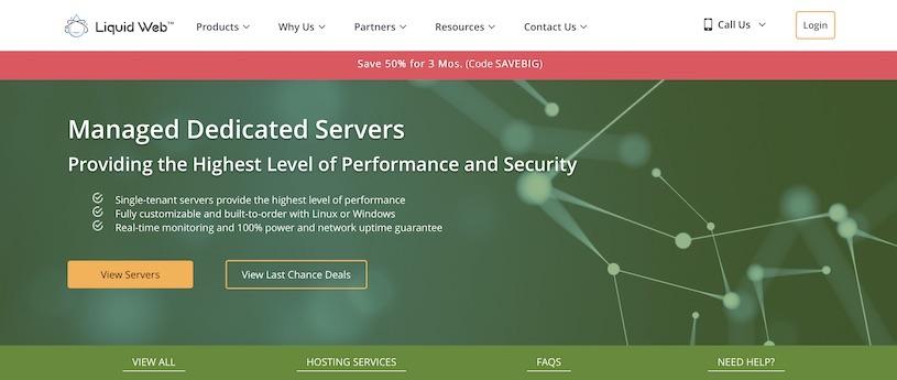 LiquidWeb Dedicated Hosting Homepage