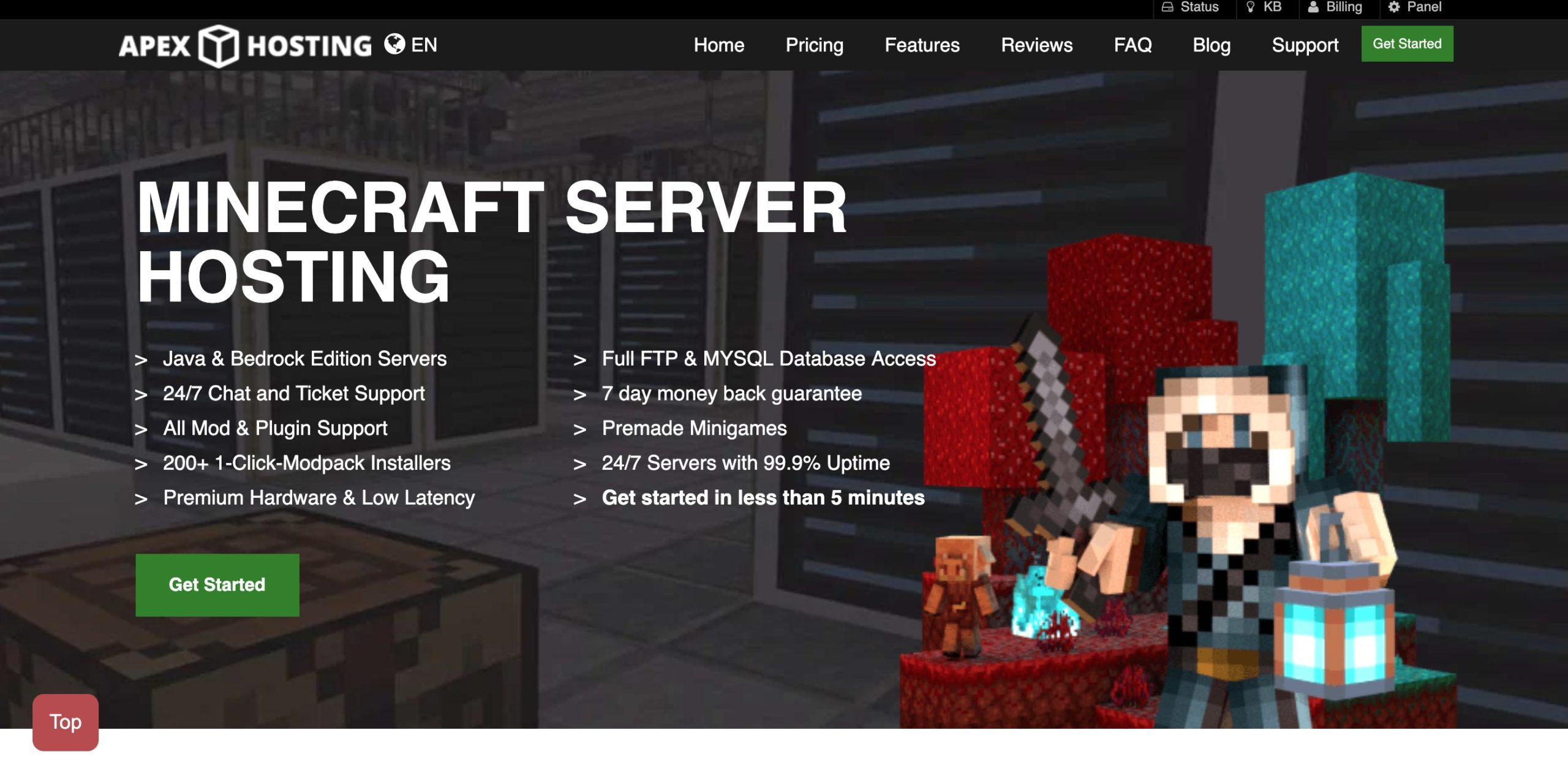Minecraft server hosting: apex hosting
