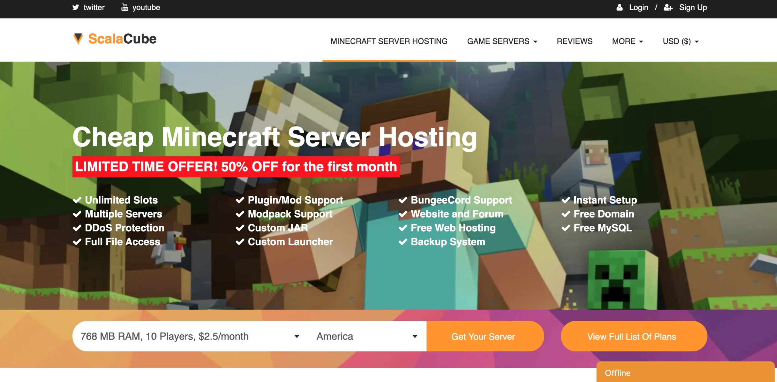 Minecraft server hosting: scalacube