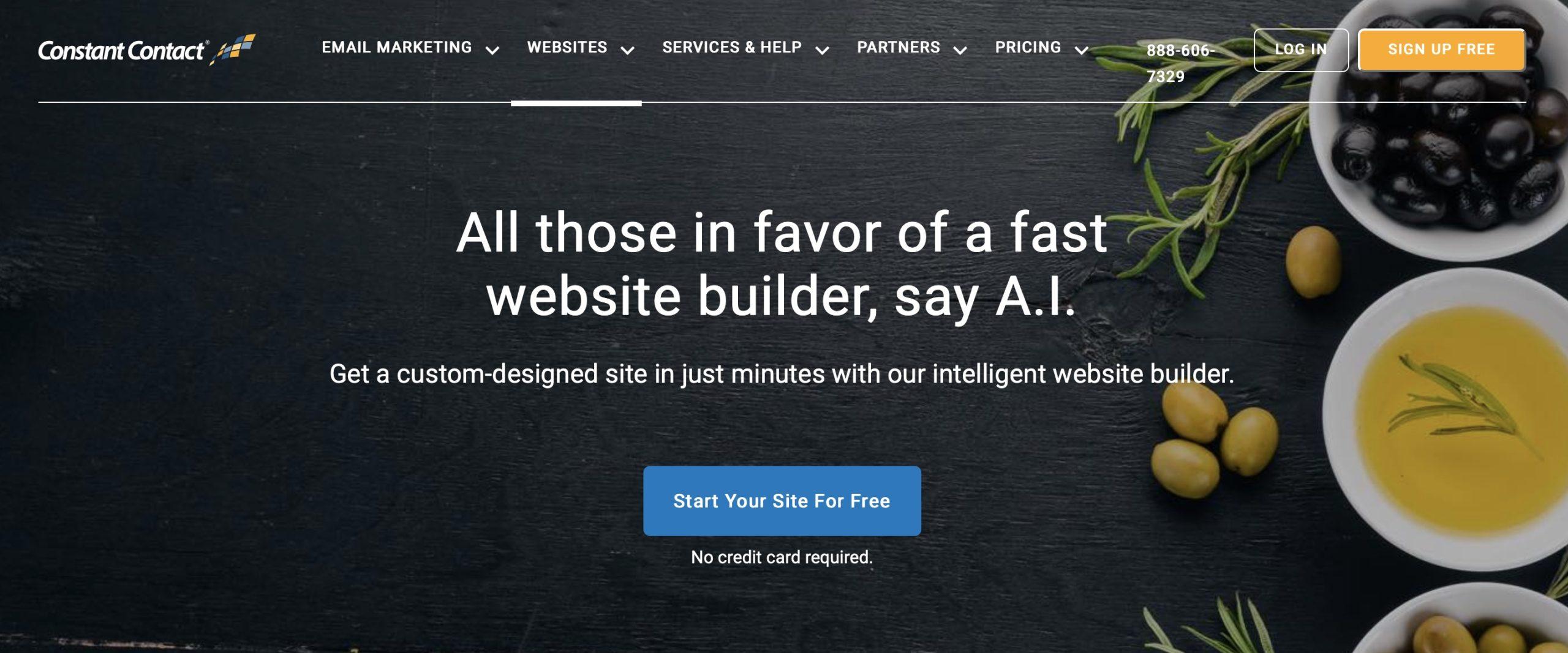 Constact Contact website builder homepage screenshot