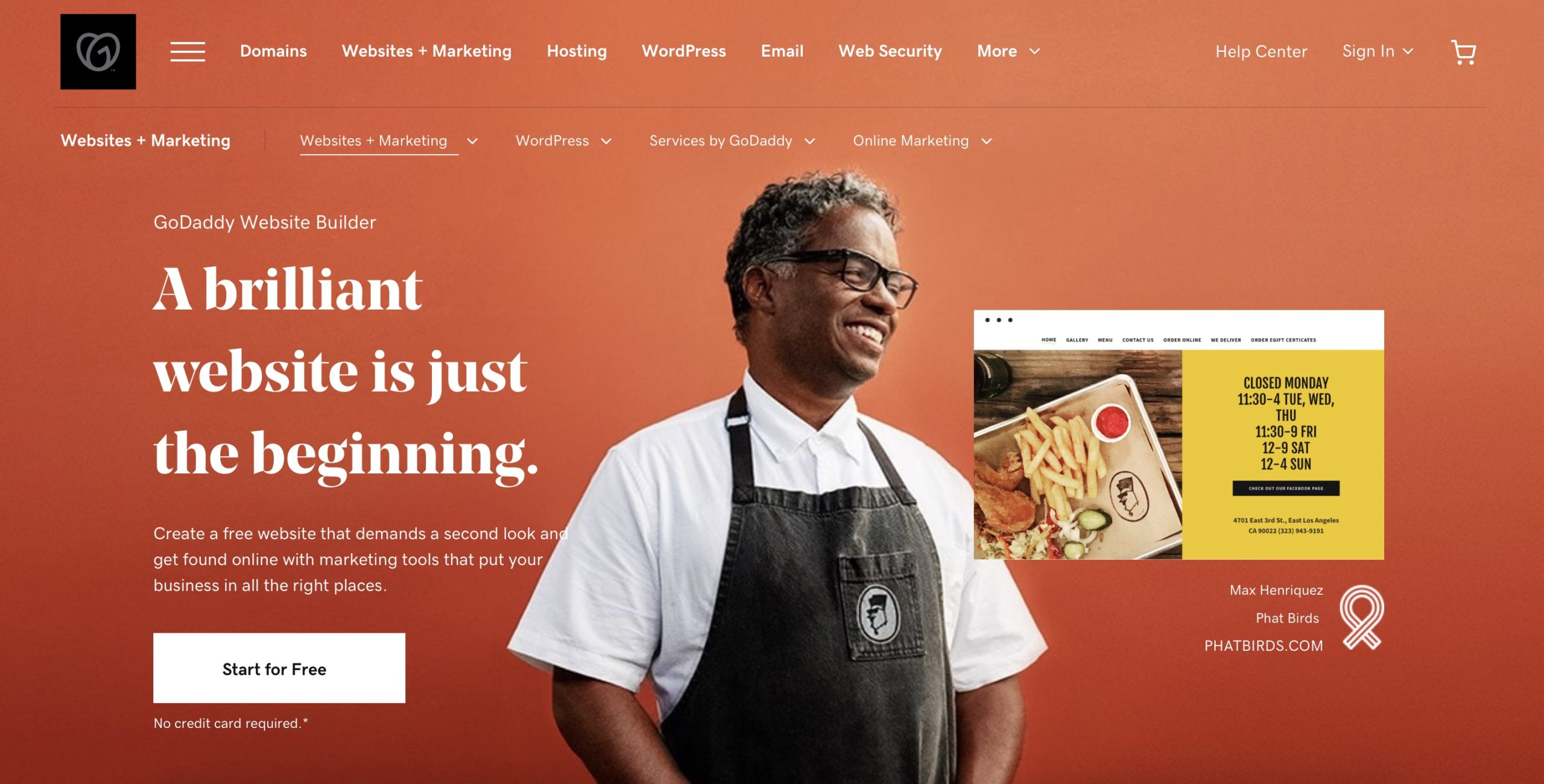 GoDaddy website builder homepage screenshot
