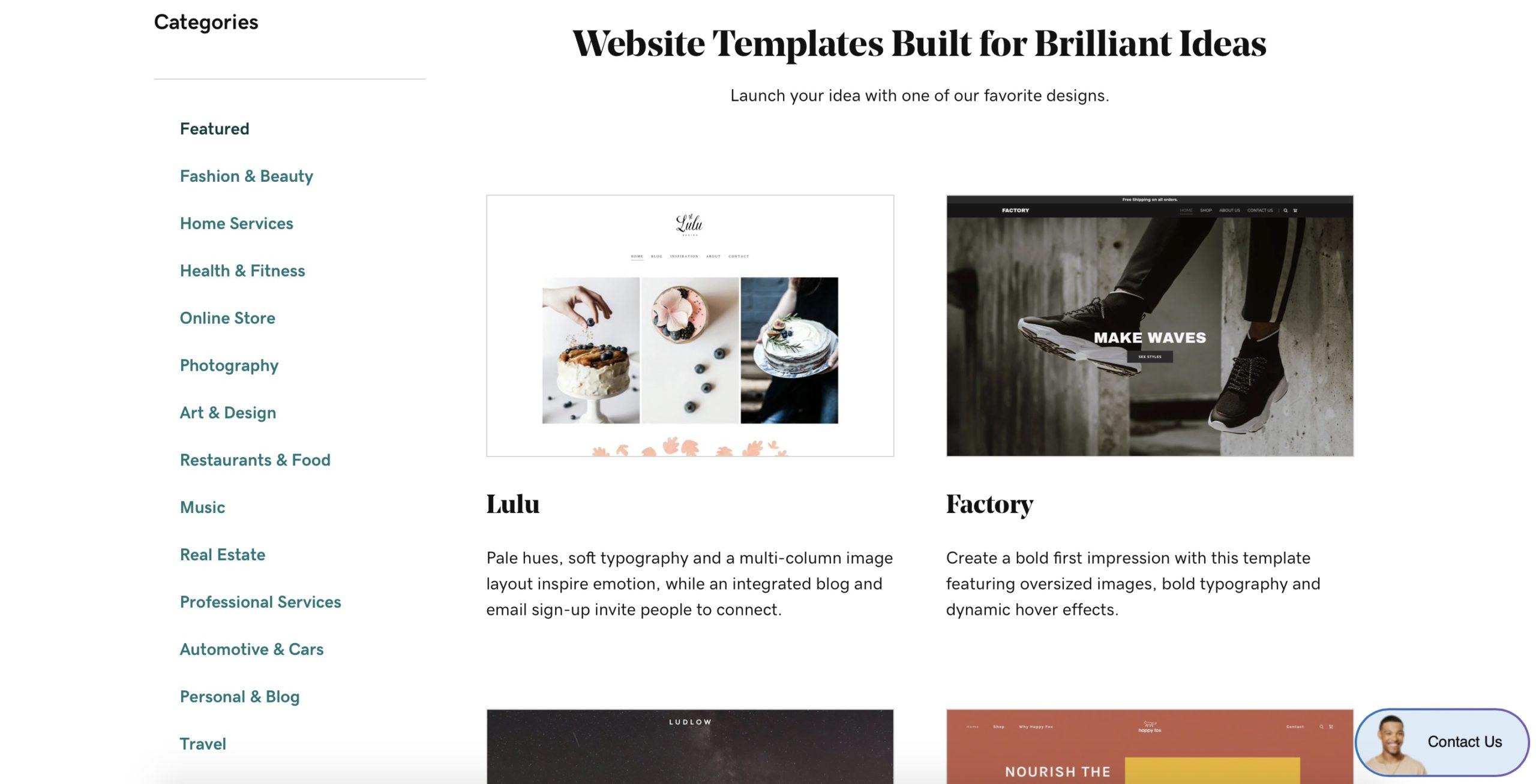GoDaddy templates sample screenshot