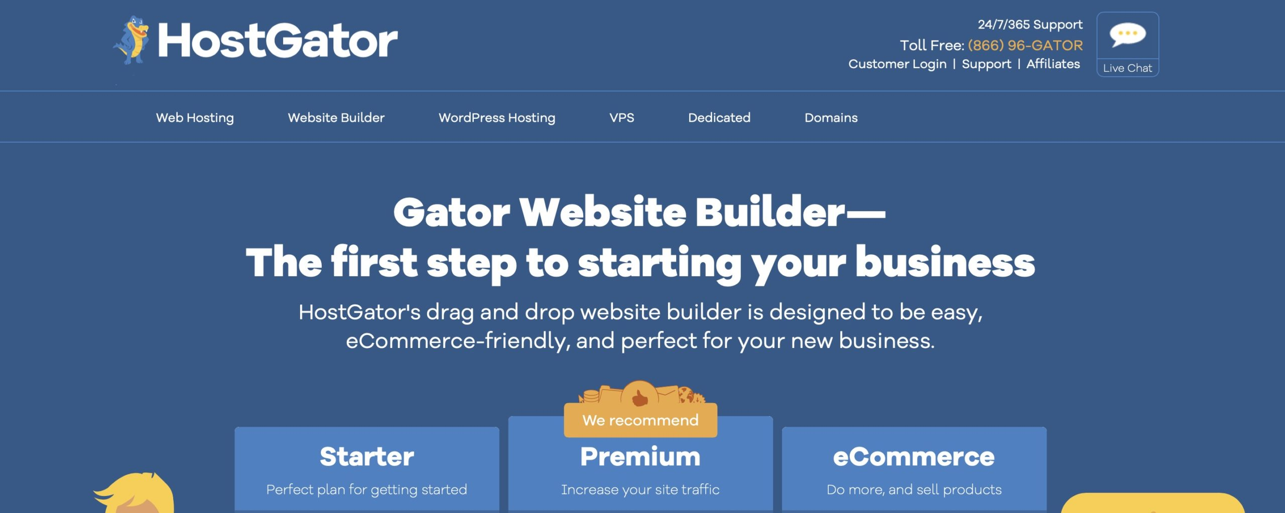 HostGator website builder homepage screenshot