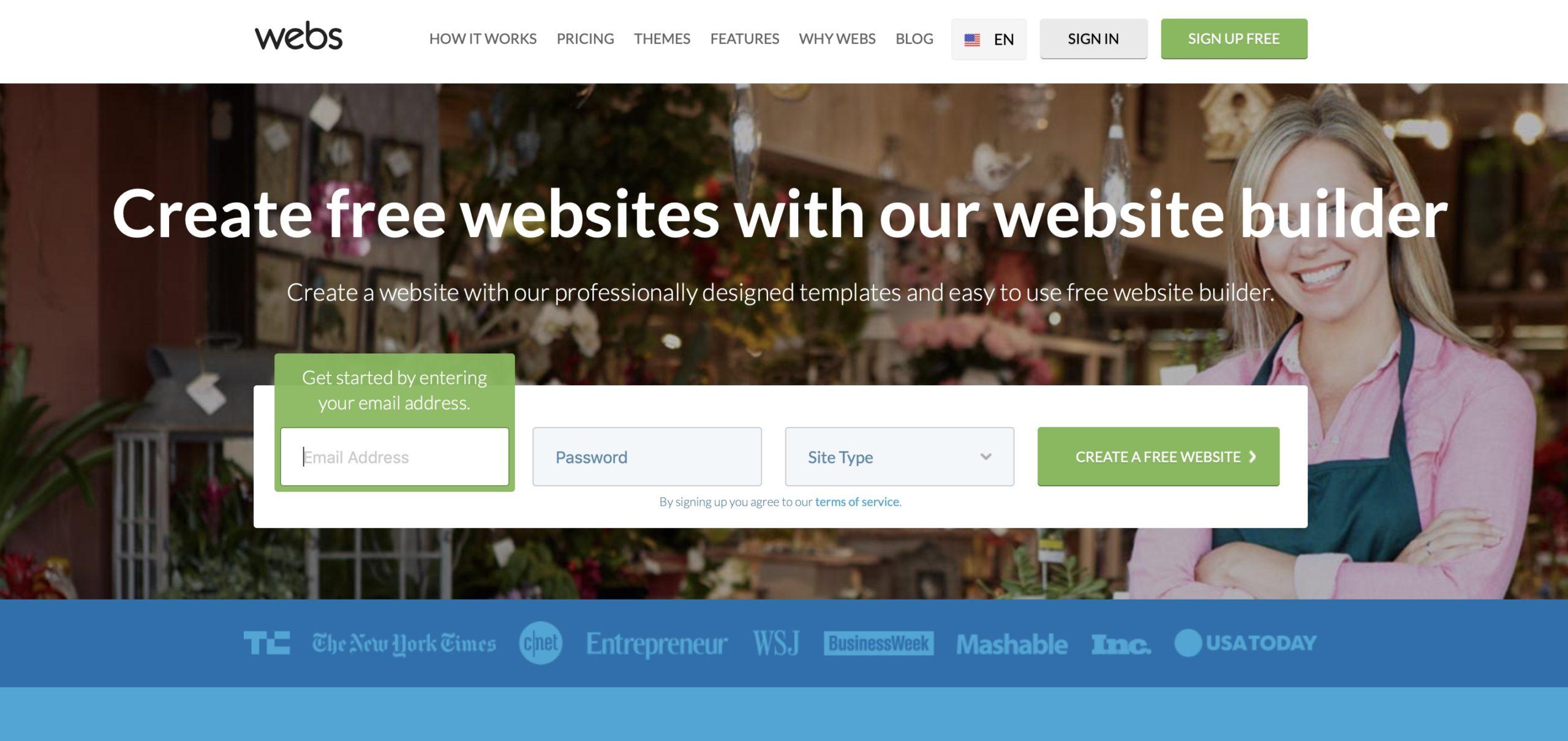 Webs website builder homepage screenshot
