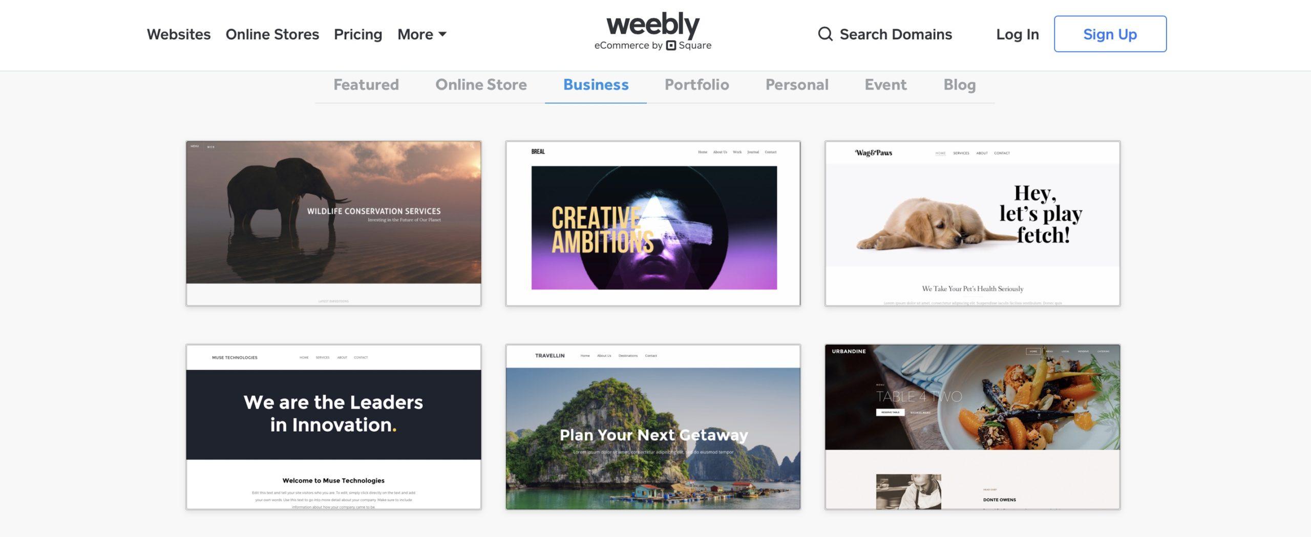 Weebly templates sample screenshot