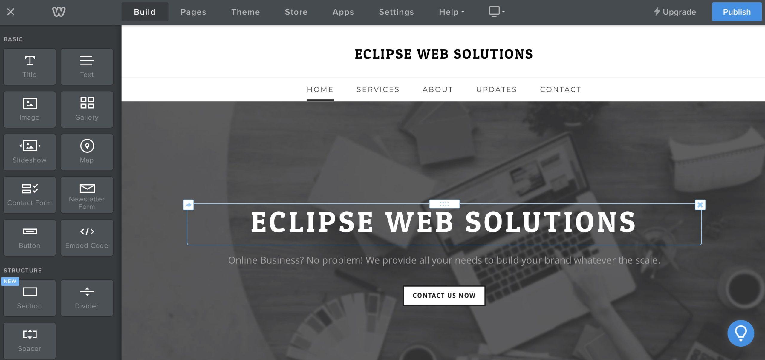 Weebly website editor screenshot