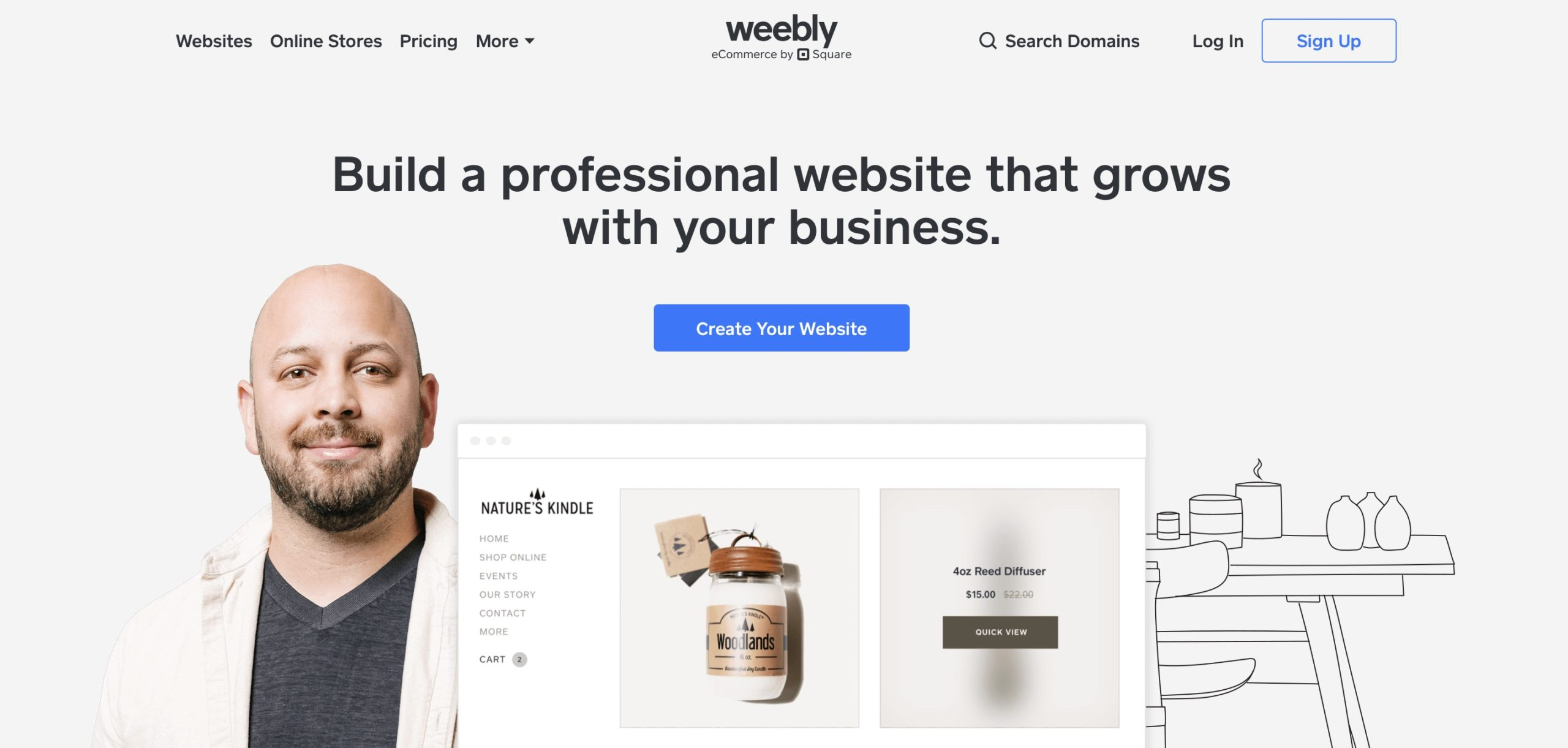 Weebly website builder homepage screenshot