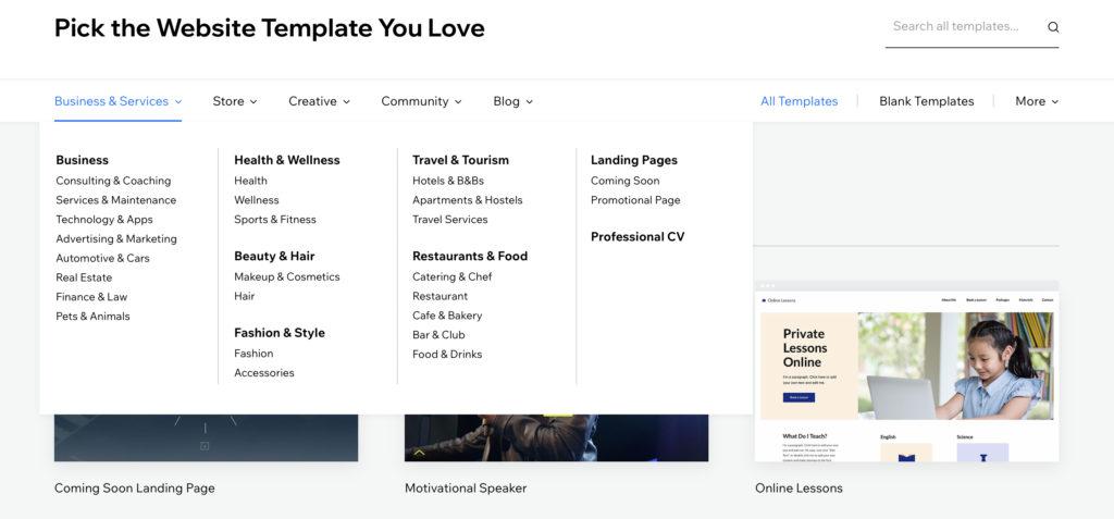 Wix templates sample screenshot