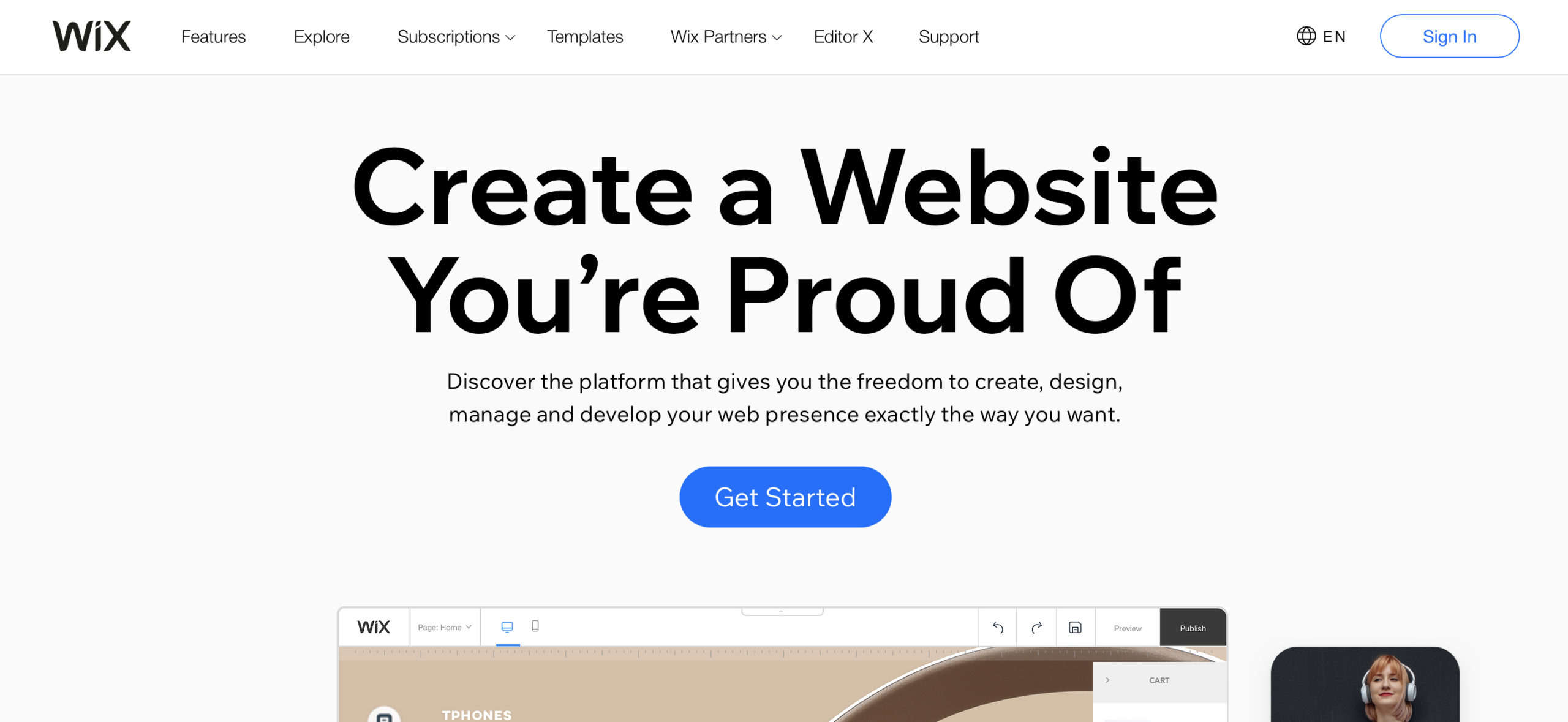 Wix website builder homepage screenshot