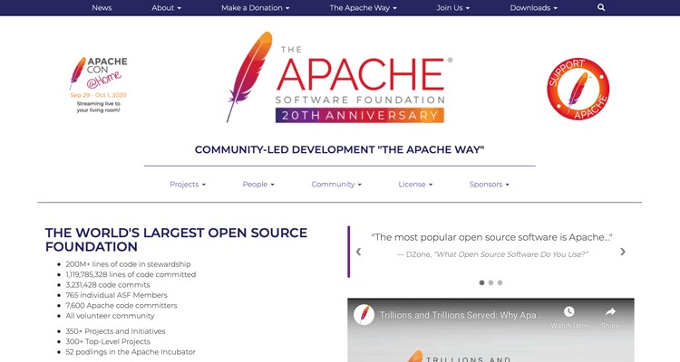 The Apache Software Foundation website