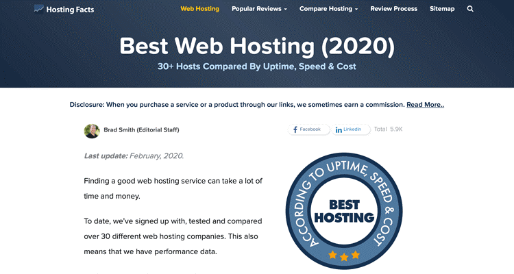 The HostingFacts website with reviews for the best web host and best web hosting plans