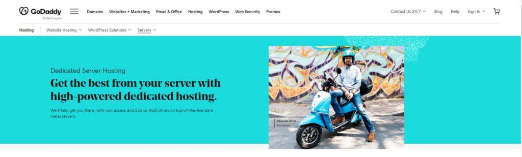 GoDaddy Dedicated Hosting Homepage