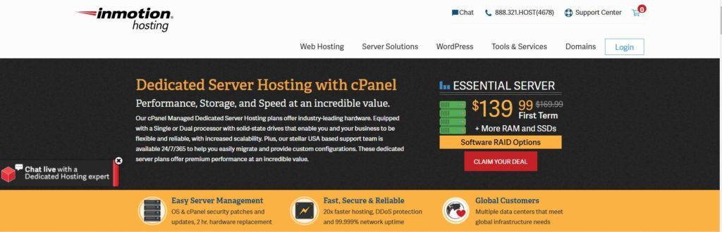 InMotion Dedicated Hosting Homepage