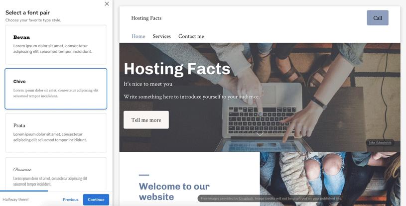 Constant Contact website editor screenshot