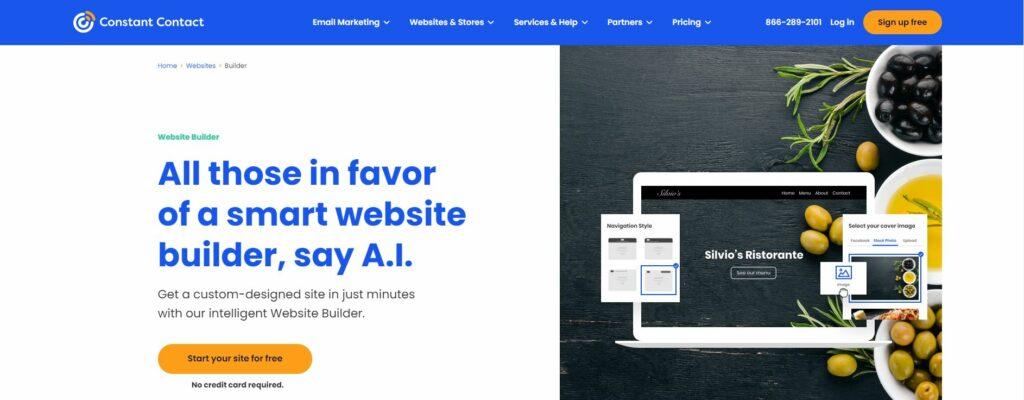 ConstantContact website builder landing page