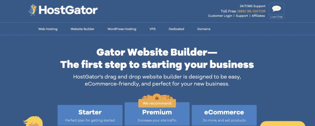 HostGator website builder homepage