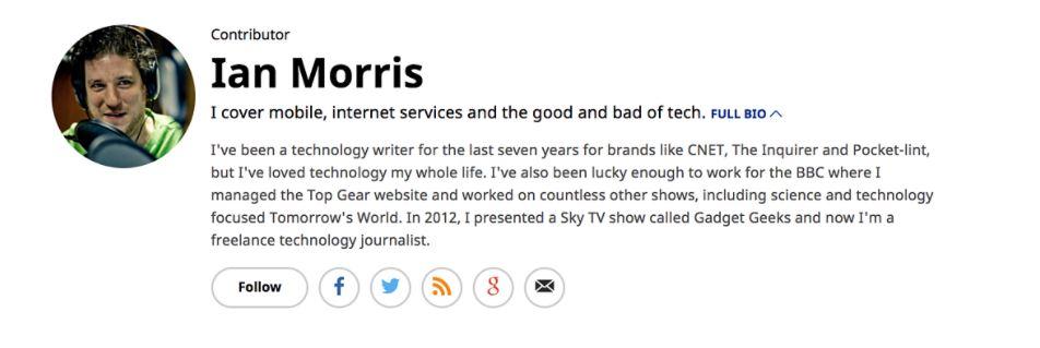 Ian Morris author's bio example