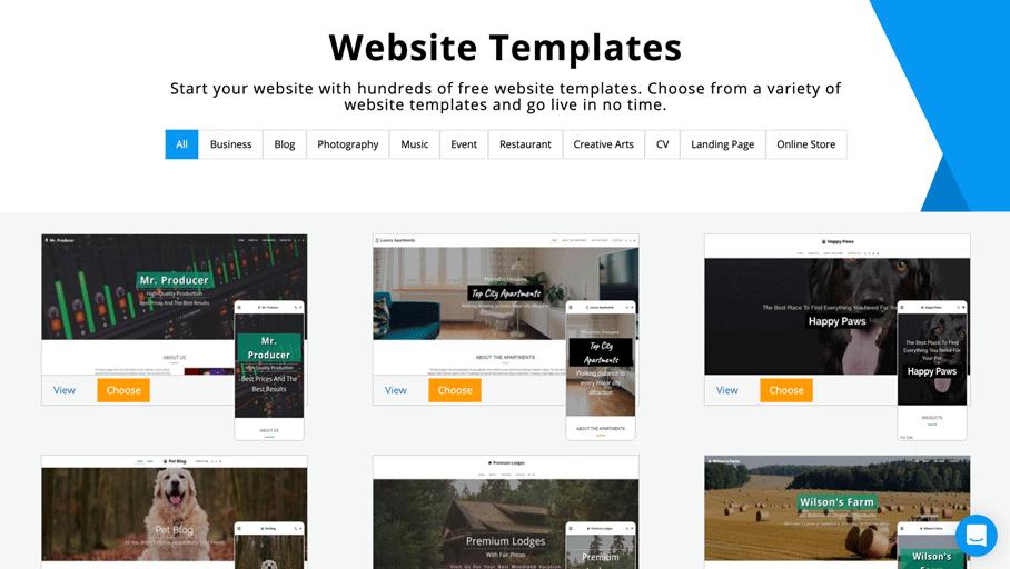 SITE123 templates sample screenshot