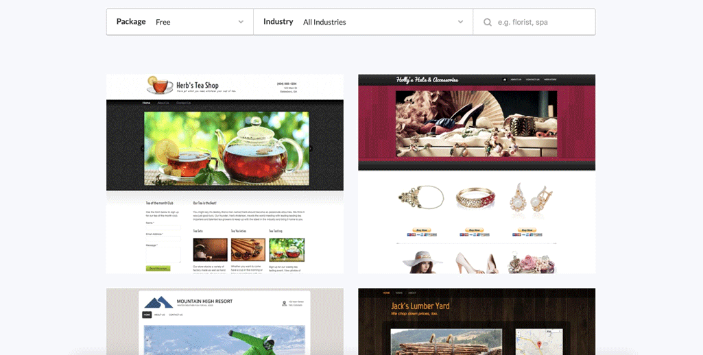 Webs templates sample screenshot