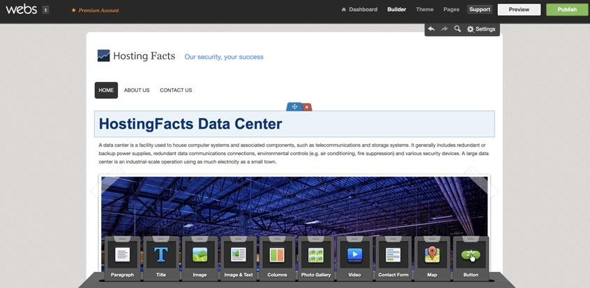 Webs website editor screenshot