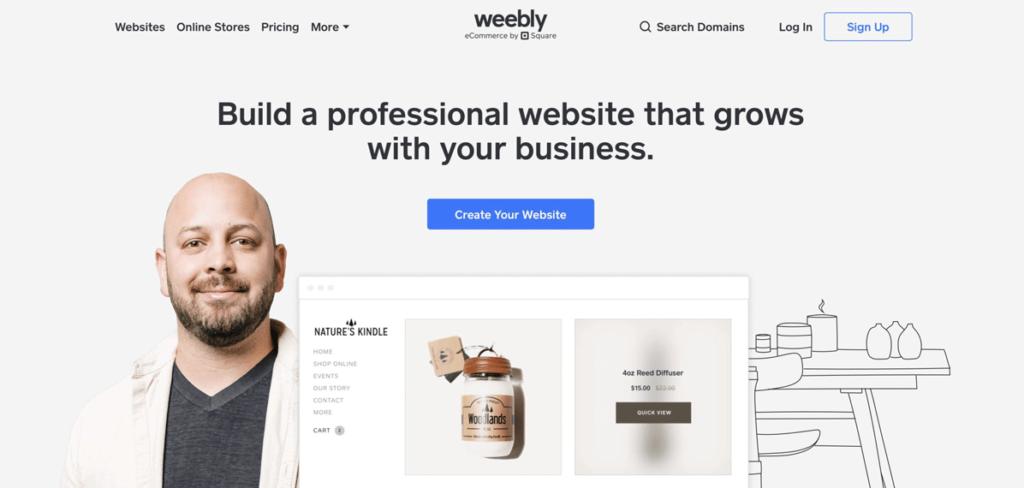 Weebly website builder homepage