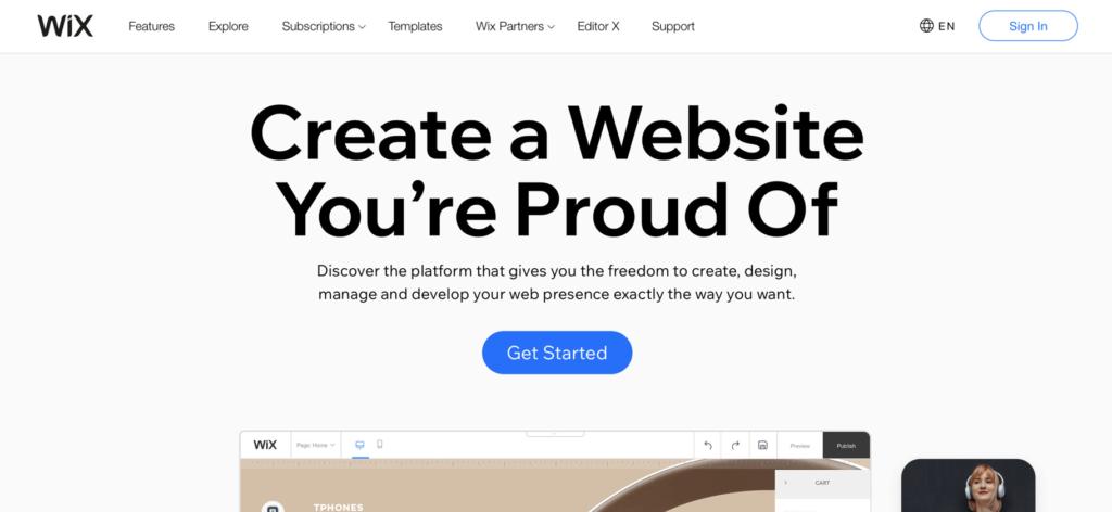 Wix website builder homepage