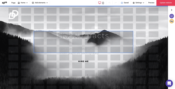 Zyro website editor screenshot