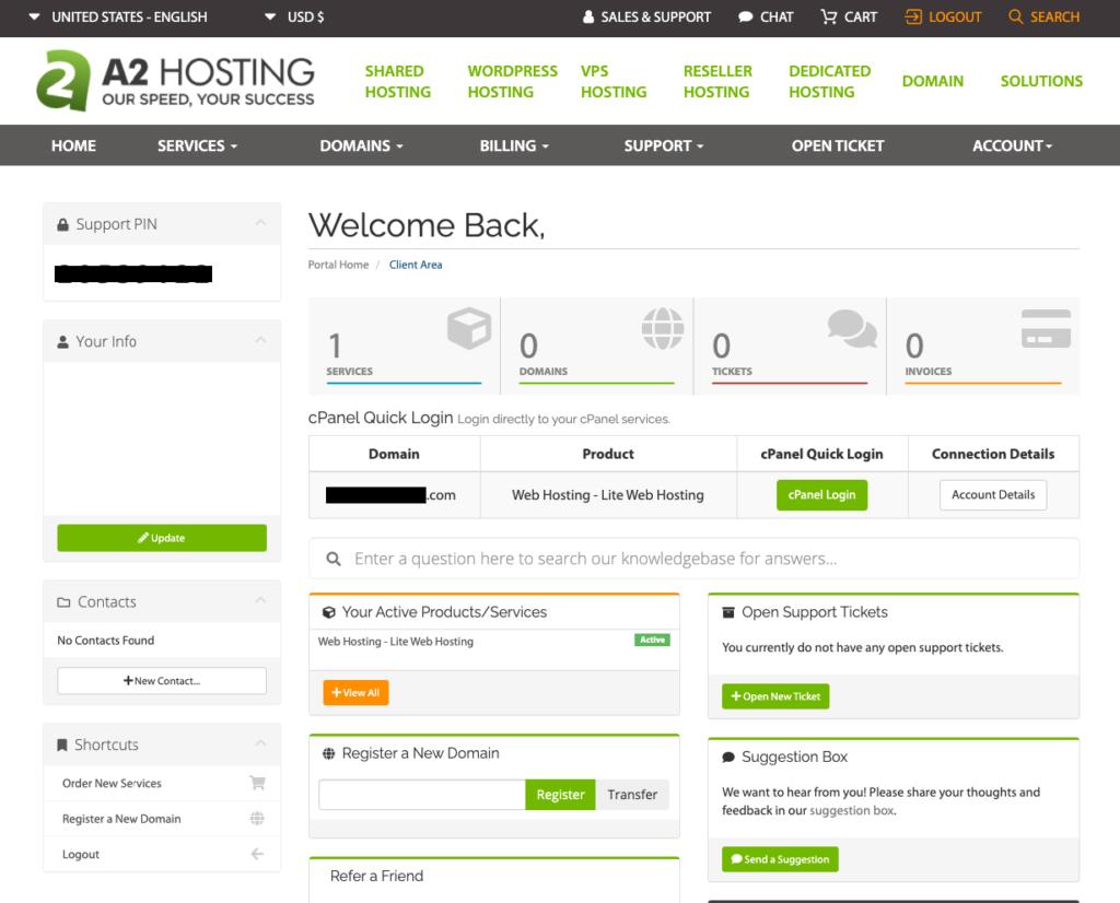 a2 hosting UI