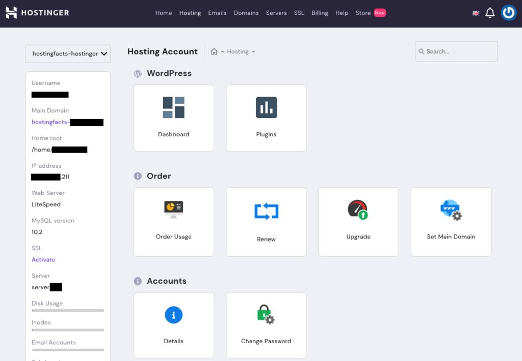 hostingers UI