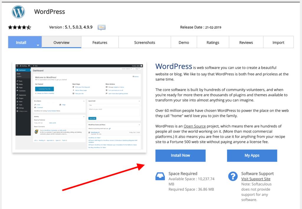 softaculous install WordPress